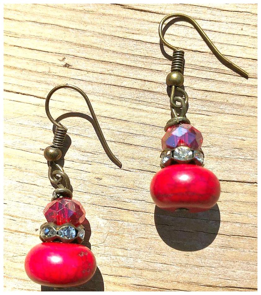 BOHEMIAN COWGIRL EARRINGS Handmade Vintage Antique Bronze Red Crystal Turquoise Rhinestone Dangle Earrings