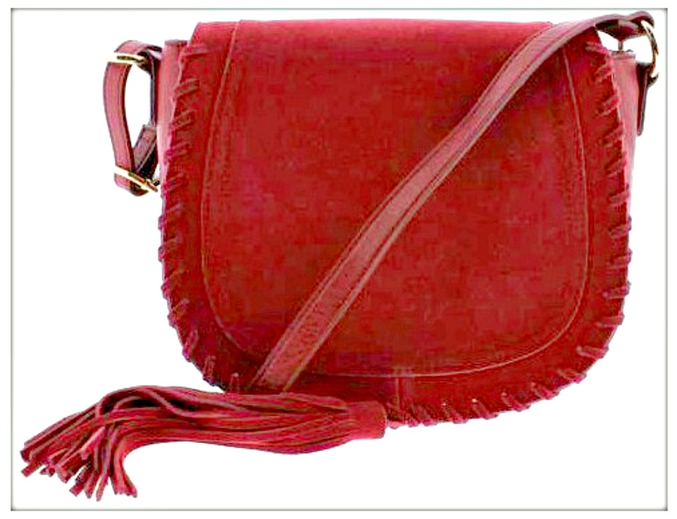 COWGIRL GLAM HANDBAG Red Faux Leather Tassel Designer Saddle Handbag