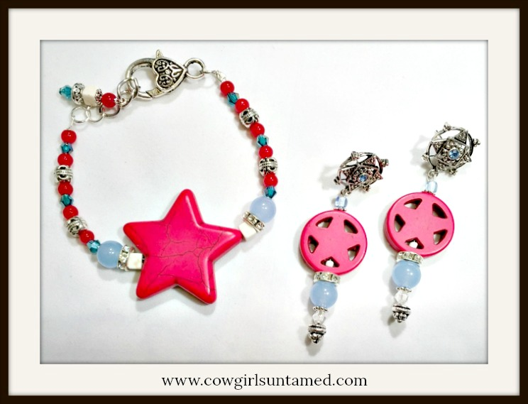 AMERICAN PRIDE JEWELRY SET Rhinestone & Blue Crystal Gemstone Turquoise Star Earrings & Bracelet Set