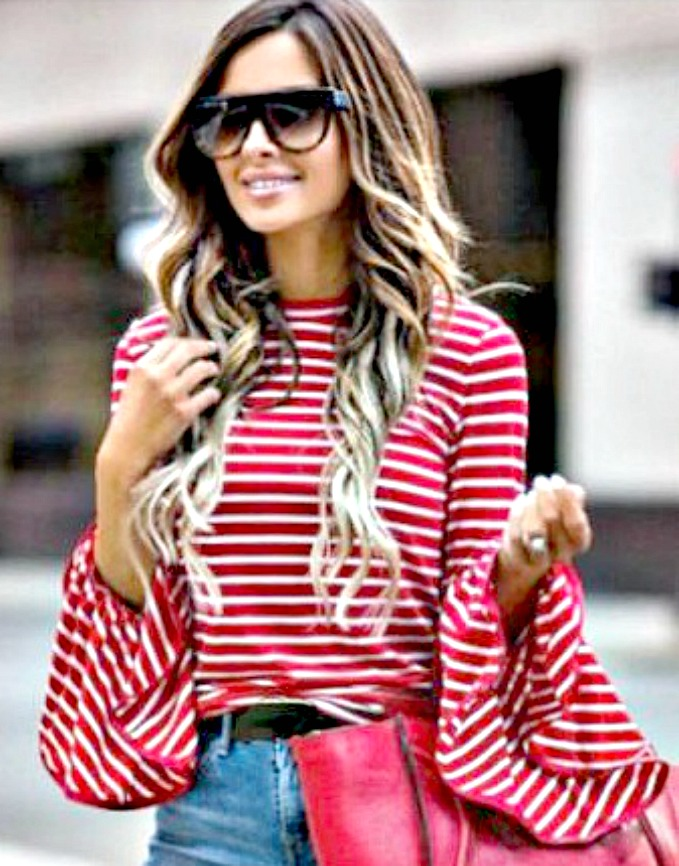 WILDFLOWER TOP Red and White Stripe Long Bell Sleeve Top