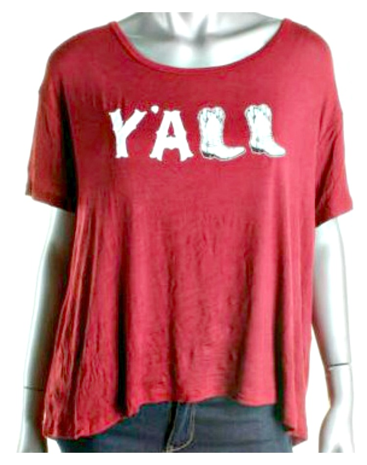 "COWGIRL STYLE TOP ""Y'All"" with Cowgirl Boot Graphic Short Sleeve Loose Fit Designer T-shirt"