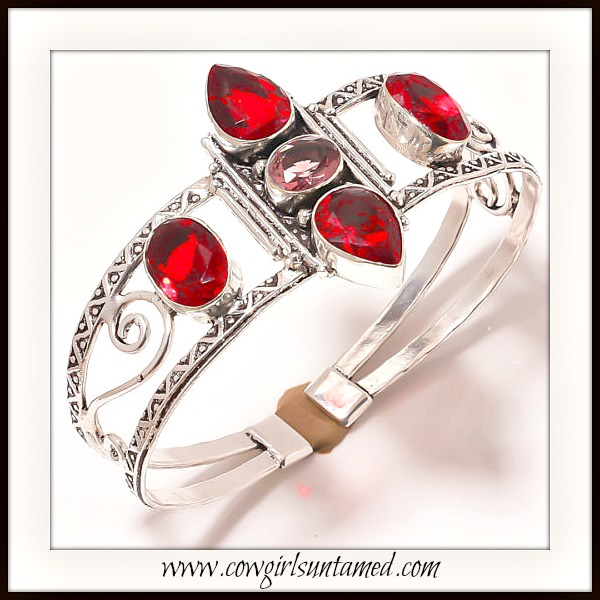 BOHEMIAN COWGIRL BRACELET Red Garnet Sterling Silver Vintage Style Cuff
