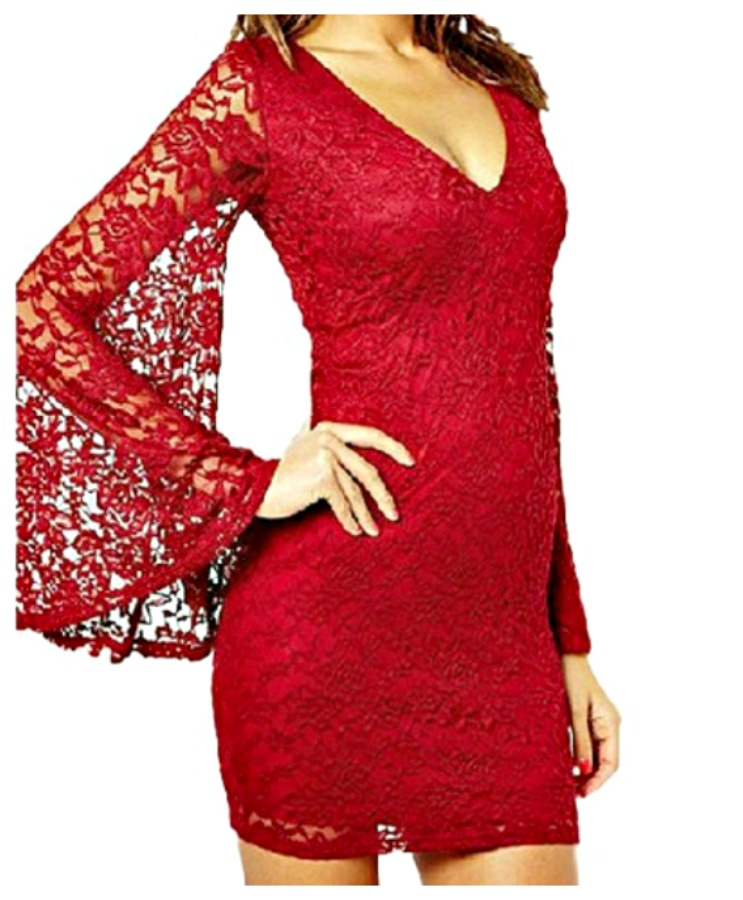 COWGIRL GYPSY DRESS Red Lace Long Bell Sleeve Stretchy Bodycon Dress