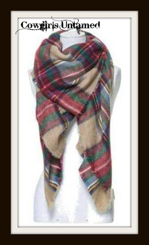 COWGIRL STYLE SCARF Red Multi Color Plaid Fringe Cashmere Soft Wrap Scarf