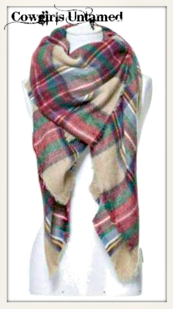 PRETTY in PLAID SCARF Red Beige Green Plaid Fringe Cashmere Soft Scarf