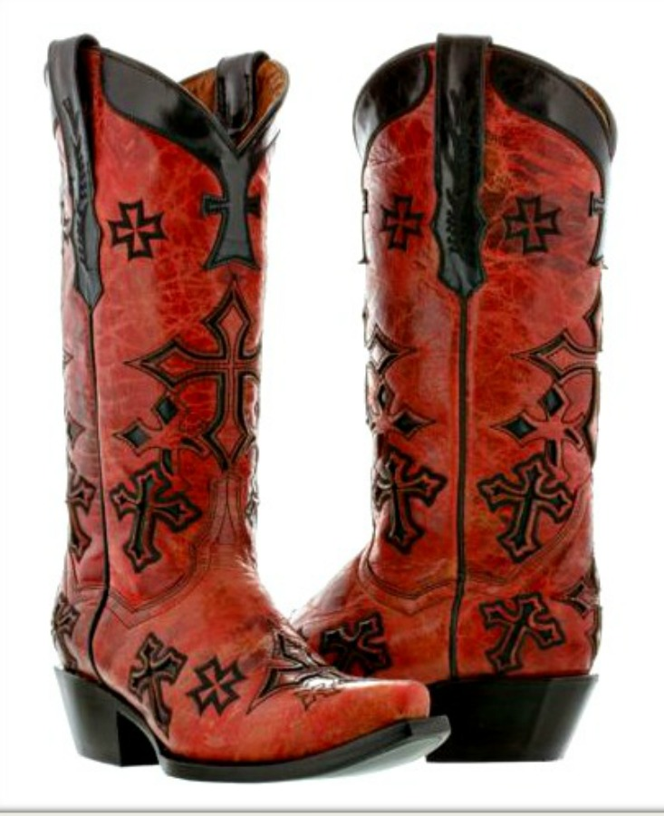 COWGIRL STYLE BOOTS Embroidered Black Crosses on Distressed Red Leather Cowgirl Boots Sizes 5,5.5,9