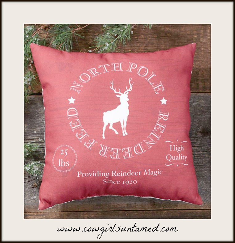 "CHRISTMAS DECOR Red ""North Pole Reindeer Feed"" Vintage Style Decorative Pillow"
