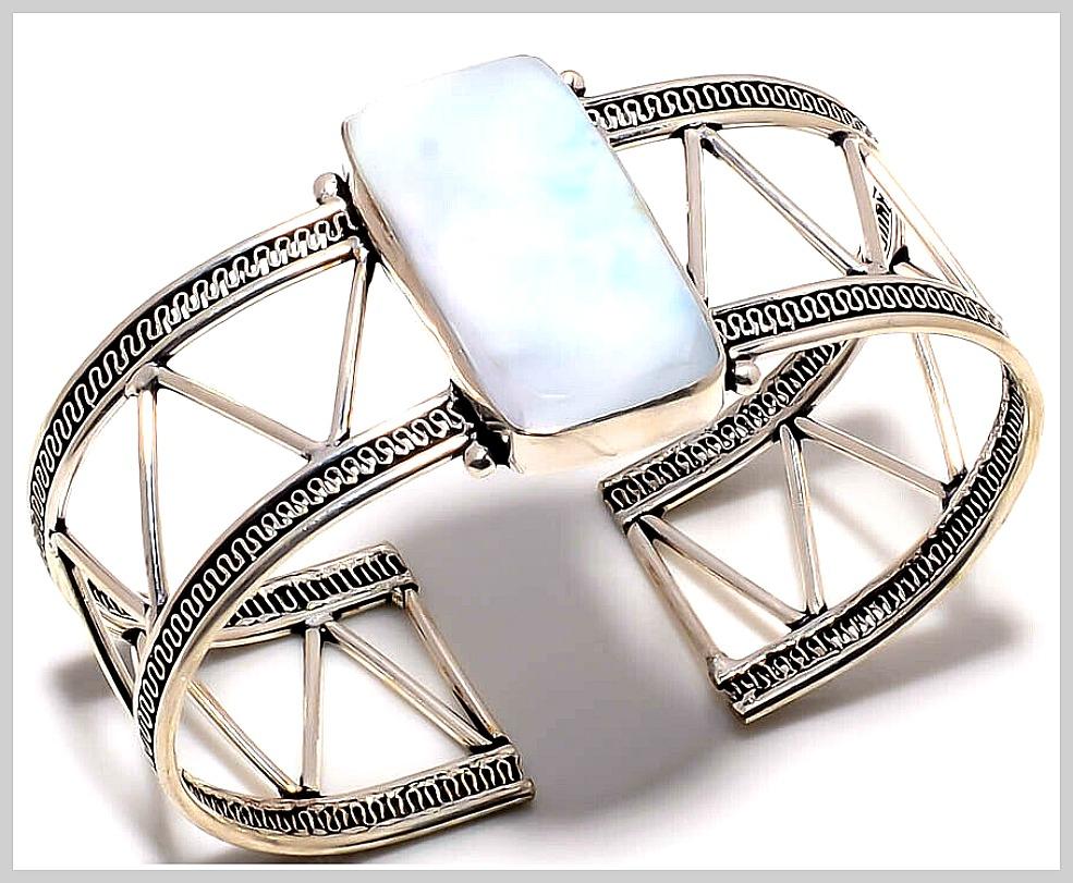 BOHEMIAN COWGIRL CUFF 925 Sterling Silver & Republic Larimar Gemstone Adjustable Wide  Cuff Bracelet