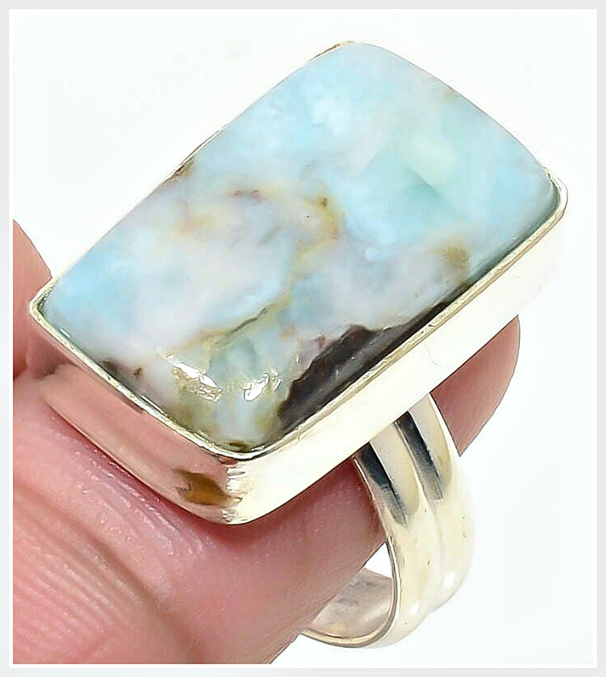 BOHEMIAN COWGIRL RING Republic Larimar Gemstone Handmade 925 Sterling Silver Ring Size 8