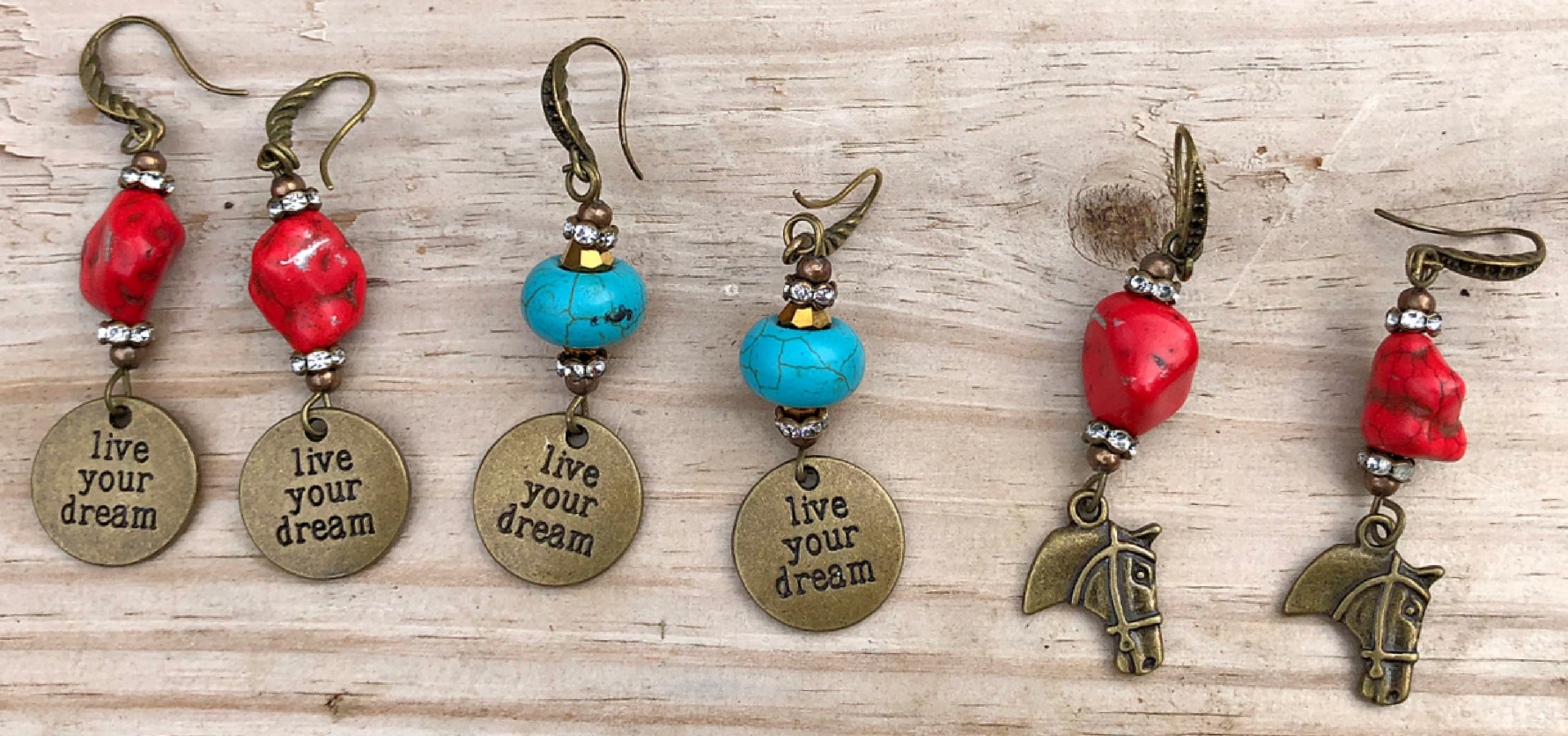 LIVE YOUR DREAM EARRINGS Handmade Turquoise Antique Bronze Horse Quote Rhinestone Charm Vintage Western Dangle Earrings 2 COLORS & 3 STYLES