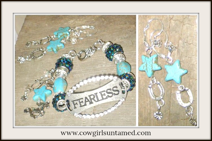 "COWGIRL STRONG BRACELET SET Rhinestone Antique Silver ""Fearless"" Charm Bracelet & Horseshoe Charm Earrings SET"
