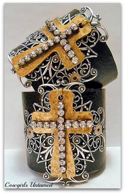 COWGIRL GYPSY CUFF Rhinestone Brass Silver Filigree Cross on Black Hammered Western Cuff Bracelet ARTISAN MADE