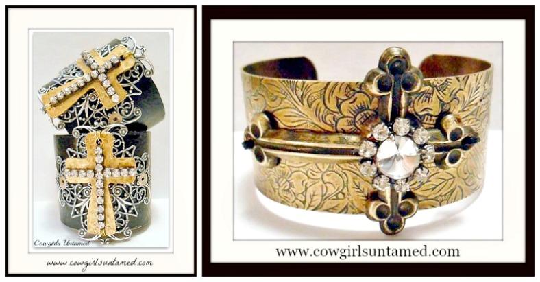 COWGIRL GYPSY CUFF Rhinestone Antique Bronze Cross Cuff Bracelet  2 DESIGNS!