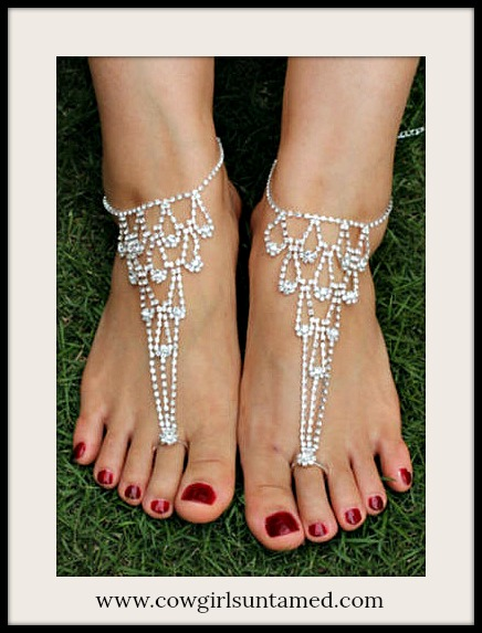 WILDFLOWER ANKLET TOE RING SET Rhinestone Dew Drop Anklet and Toe Ring Barefoot Sandal