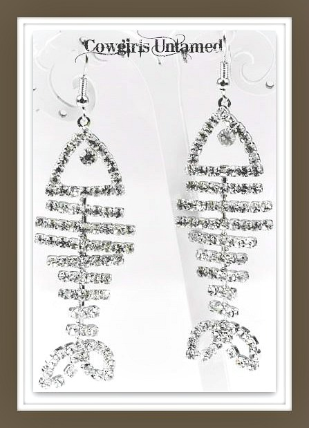COUNTRY COWGIRL EARRINGS Rhinestone Fish Bone Western Earrings