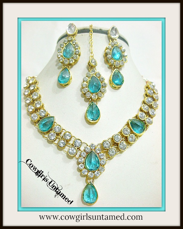 COWGIRL GYPSY NECKLACE SET Gold Plated Aqua and Rhinestone Necklace Jewelry Set