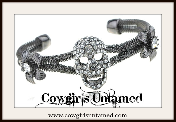 COWGIRLS ROCK BRACELET Rhinestone Gunmetal Skull on Mesh Metal Bracelet