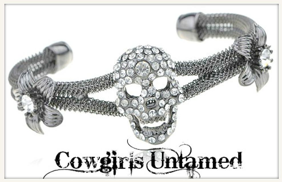 COWGIRLS ROCK BRACELET Rhinestone Gunmetal Skull on Mesh Metal Bracelet