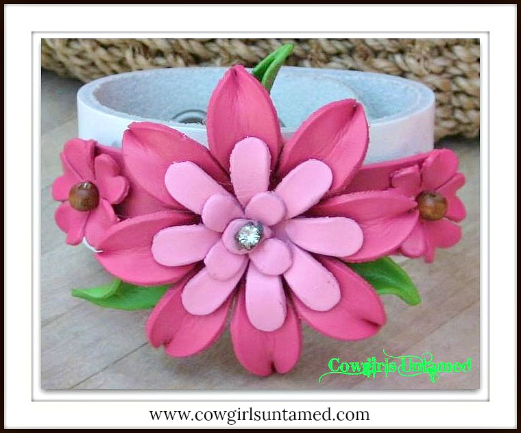 COWGIRL STYLE CUFF Rhinestone Hot Pink N Green Flower on GENUINE LEATHER White Cuff Bracelet
