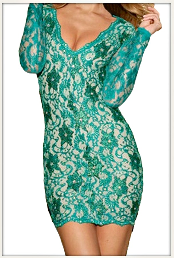 TRIPLE X DRESS Teal Rhinestone Scattered Open Back Stretchy Lace Dress ONLY 2 LEFT!