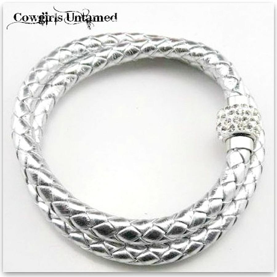 NO PLAIN JANE HERE BRACELET Silver Metallic Braided Leather Rhinestone Magnetic Closure Double Wrap Bracelet