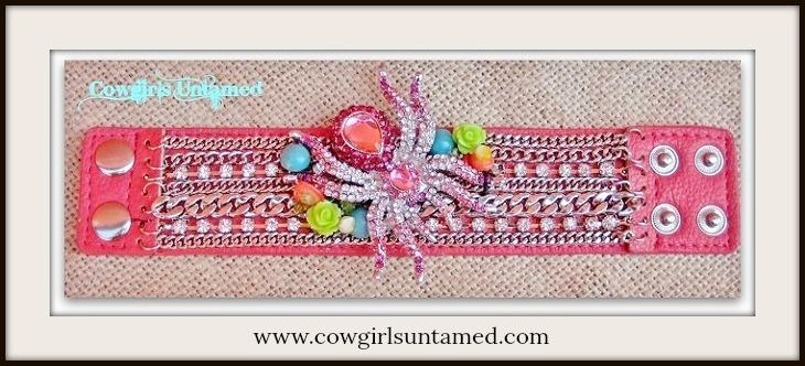COWGIRLS ROCK CUFF Rhinestone N Silver Multi Chain Spider Western Bracelet