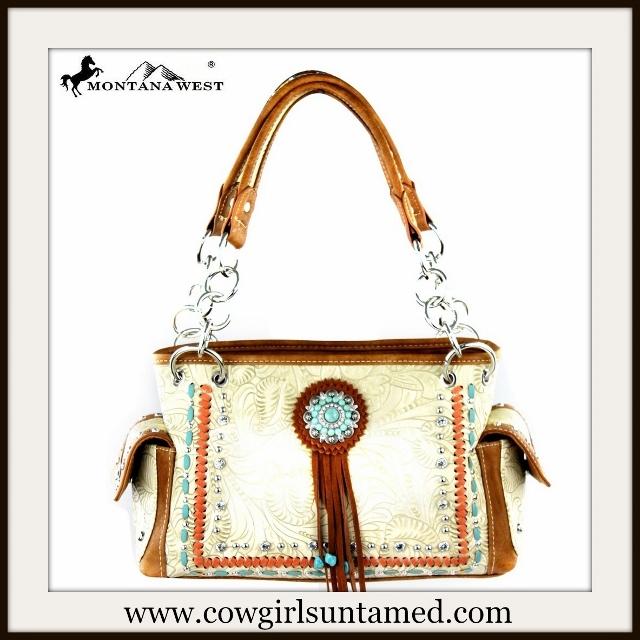 COWGIRL GLAM HANDBAG Rhinestone N' Turquoise Concho Studded Tooled Handbag