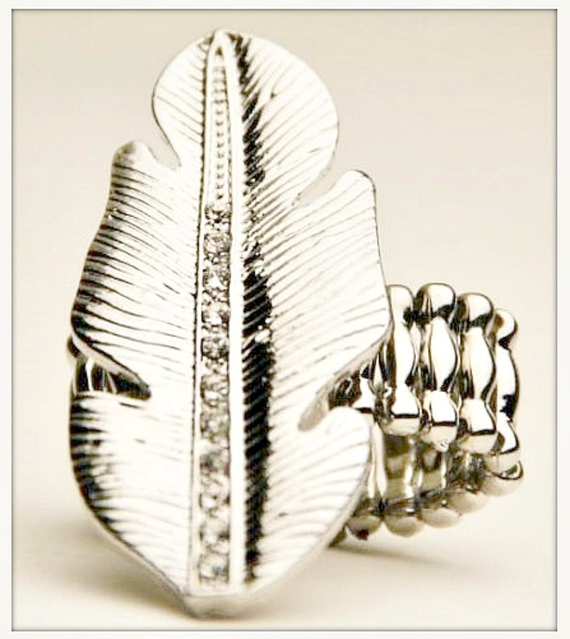 AMERICAN COWGIRL RING Rhinestone Silver Feather Stretchy Western Ring
