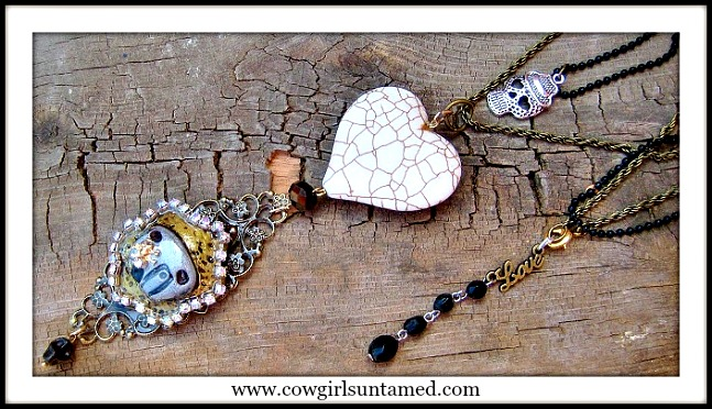 TRAVELIN' COWGIRL GYPSY NECKLACE SET Rhinestone Skull N Trailer Pendant Double Strand Necklace