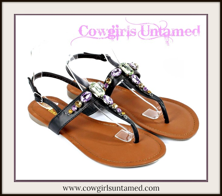 COWGIRL GYPSY SHOES Green & Purple Rhinestone Black Leather Sandals
