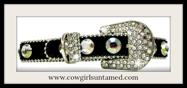 COWGIRL PET STYLE COLLAR Black Rhinestone & Crystal Silver Buckle on Black Leather Pet Collar