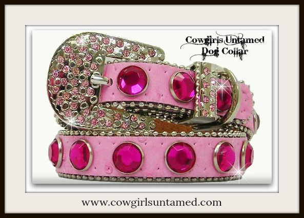 COWGIRL PET STYLE COLLAR Rhinestone & Crystal Silver Buckle Pink Leather Dog Collar
