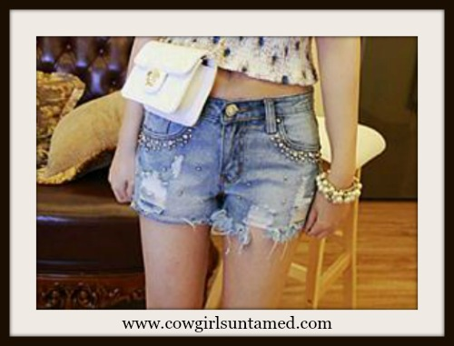SOUTHERN BELLE SHORTS Rhinestone Studded and Silver Beaded Blue Jean Cut Off Shorts