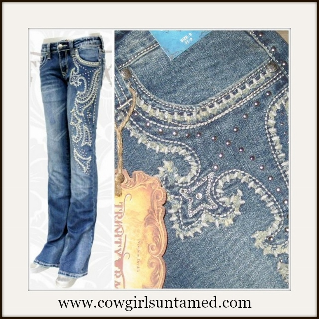 MONTANA WEST JEANS Embroidered & Rough Edge Stitch Down Side & Pocket Western Jeans
