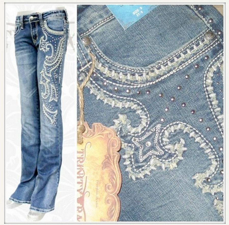 MONTANA WEST JEANS Embroidered & Rough Edge Stitch Down Side & Pocket Western Jeans SIZE 3 and 13 ONLY