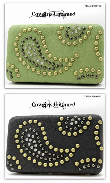COWGIRL STYLE WALLET Rhinestone and Brass Studded Paisley Leather Western Clutch Wallet