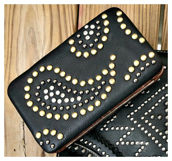 COWGIRL STYLE WALLET Rhinestone and Brass Studded Paisley Leather Black Western Clutch Wallet