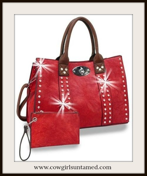 COWGIRL GLAM HANDBAG Rhinestone Studded Red Leather Handbag & Coin Purse Set