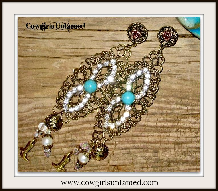 COWGIRL JUNK GYPSY EARRINGS Rhinestone & Turquoise Antique Bronze Long Filigree Charm Earrings