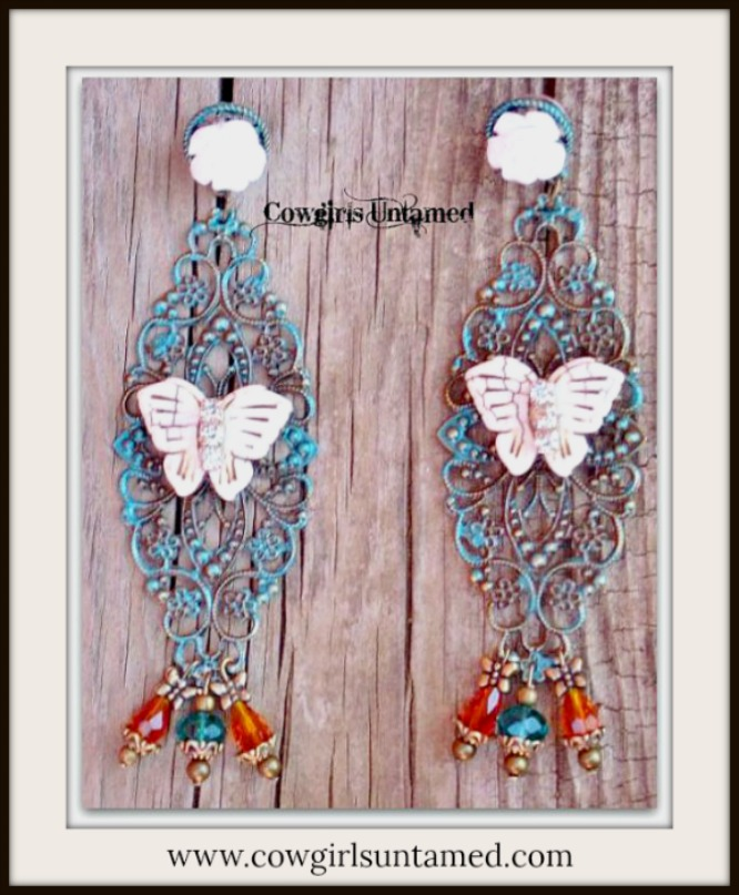 VINTAGE COWGIRL EARRINGS Rhinestone Ivory Turquoise Butterfly Teal & Orange Swarovski Crystal Earrings