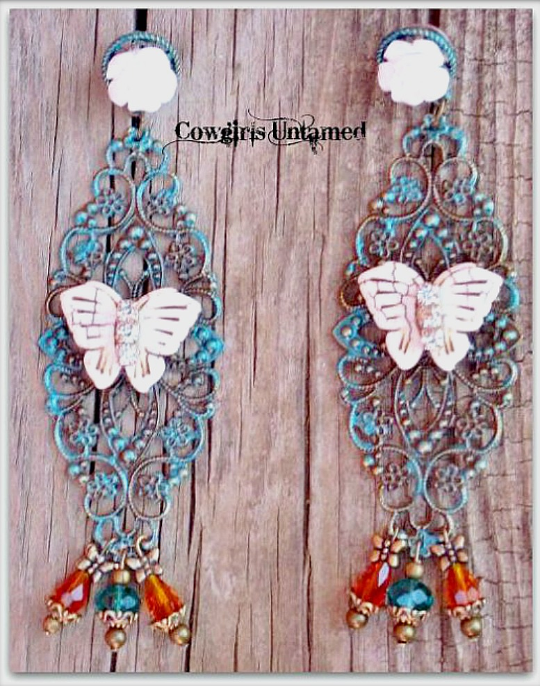 VINTAGE BOHEMIAN EARRINGS Rhinestone Ivory Turquoise Butterfly Teal & Orange Swarovski Crystal Earrings