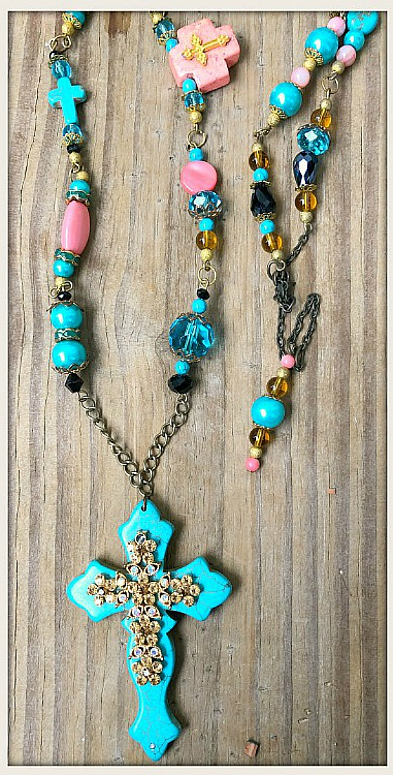 ROSARY STYLE NECKLACE Turquoise & Gold Rhinestone Cross Pendant Rosary Long Western Necklace