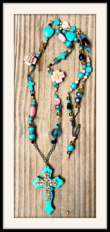 boho rosary vintage necklace jewelry long turquoise
