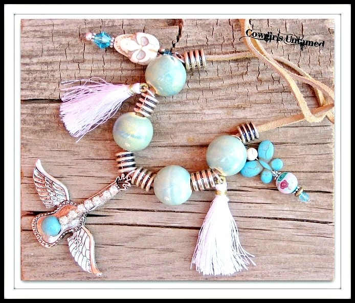 COWGIRL JUNK GYPSY NECKLACE Turquoise Skull & Butterfly Winged Rhinestone Guitar Necklace