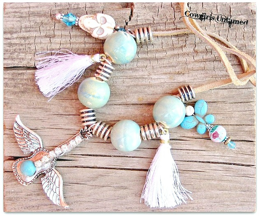COWGIRL JUNK GYPSY NECKLACE Custom Turquoise Skull & Butterfly Winged Rhinestone Guitar Necklace