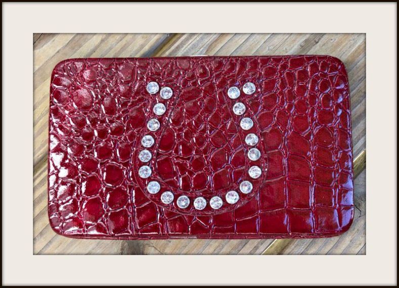 COWGIRL STYLE WALLET Rhinestone Horseshoe Red Croc Embossed Wallet / Clutch