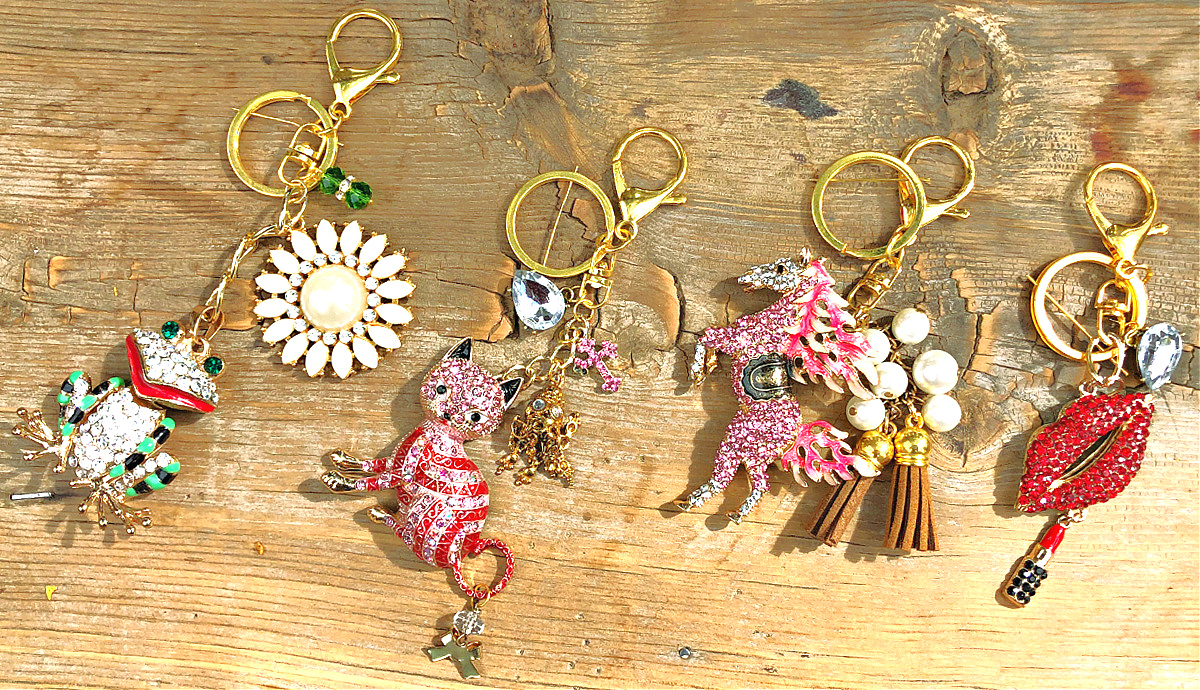 COWGIRL KEY CHAIN Handmade Gold Tassel Rhinestone Charm Purse Accessory / Key Chain 4 STYLES