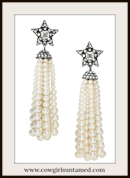 COWGIRL GLAM EARRINGS Pave Silver Star Long Pearl Tassel Earrings
