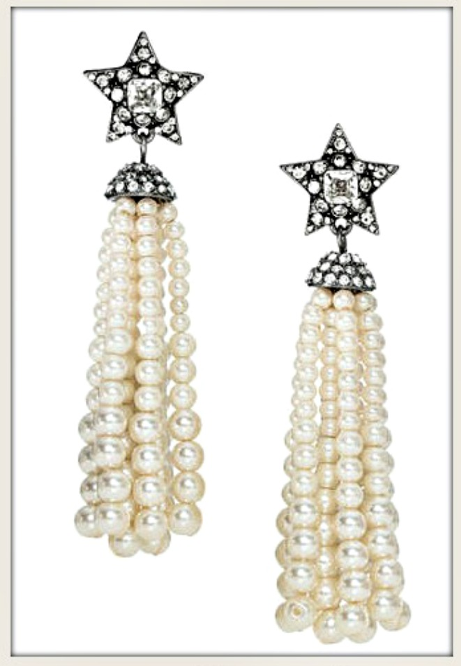 TOUCH OF GLAM EARRINGS Pave Silver Star Long Pearl Tassel Earrings