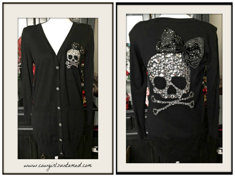 COWGIRL GYPSY SWEATER Rhinestone Skull Front & Back with Bow Crystal Buttons Pockets Long Cardigan